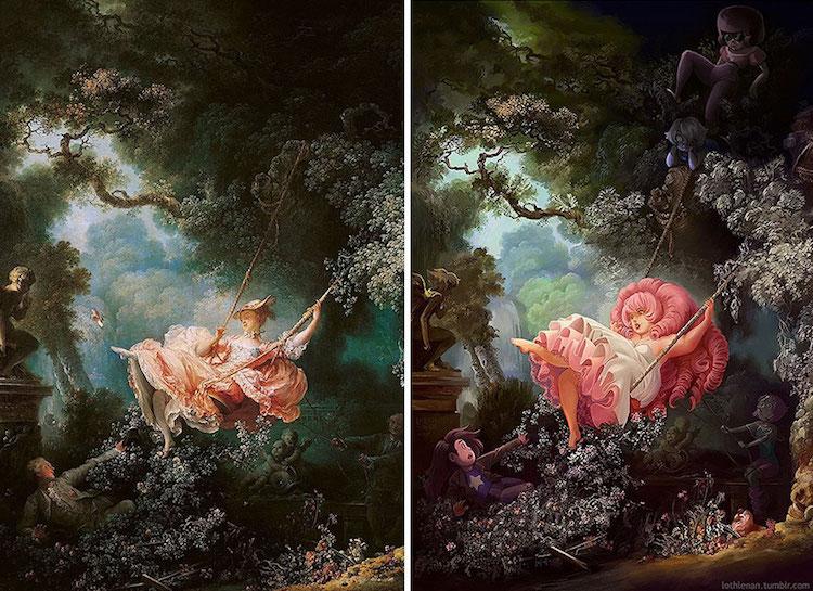 Transformirana djela velikana povijesti umjetnosti - Page 9 Classical-paintings-anime-culture-Lothlenan-1