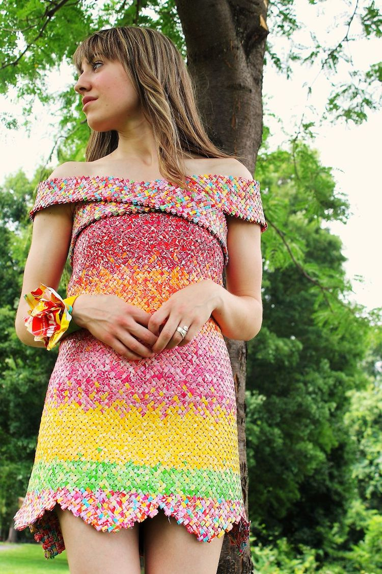 Over 10,000 Starbursts Wrappers Form a Wearable Art Candy Dress