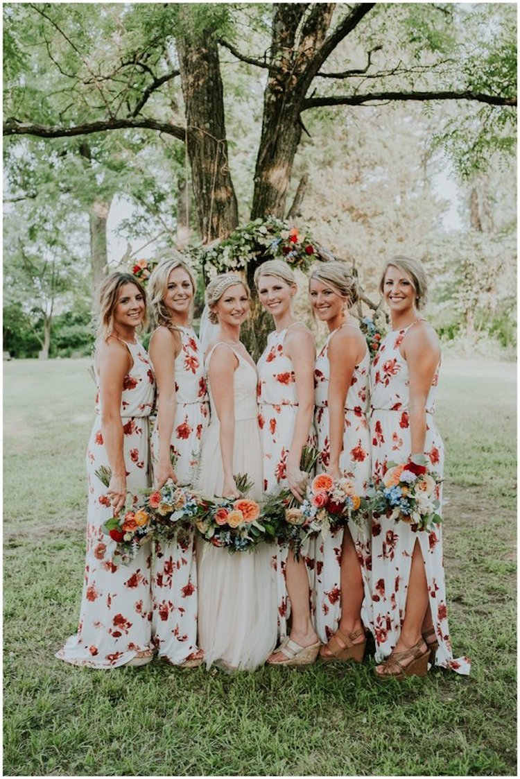 Floral bridesmaid dresses are the latest trend in wedding party attire floral bridesmaid dresses floral print bridesmaid dresses bridesmaid gown ombrellifo Choice Image