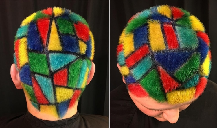 Stained Glass Hair Art by Ursula Goff