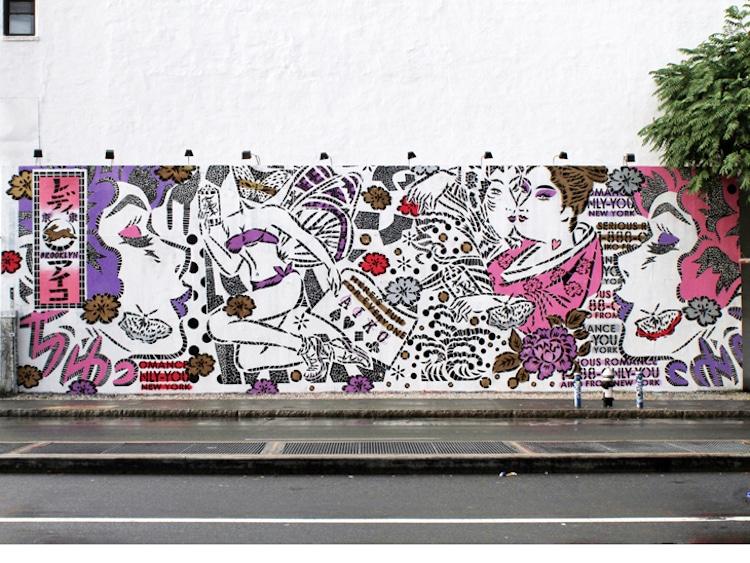 Lady Aiko Stencil Art bowery wall