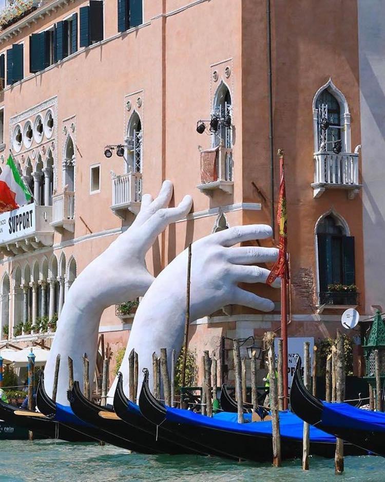 lorenzo quinn support installation art