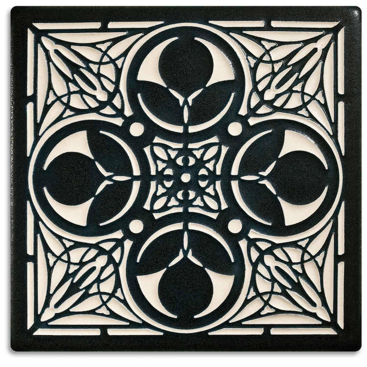 Illustrated ceramic art tiles add a modern flair to the for Arts crafts tiles