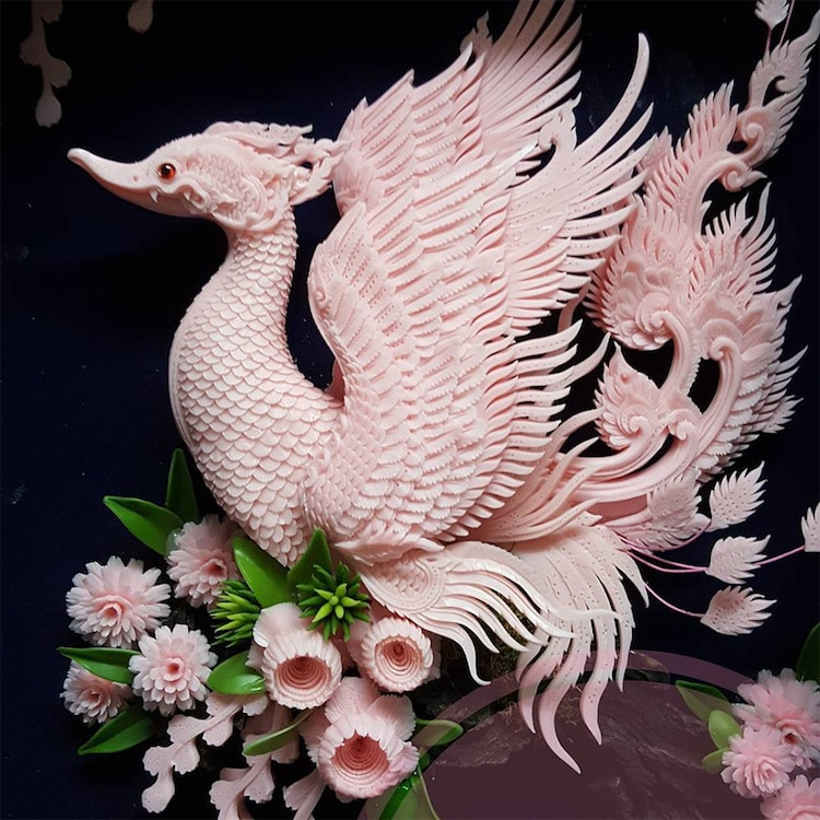 whimsical bird carvings thai soap carving given modern twist by narong designs