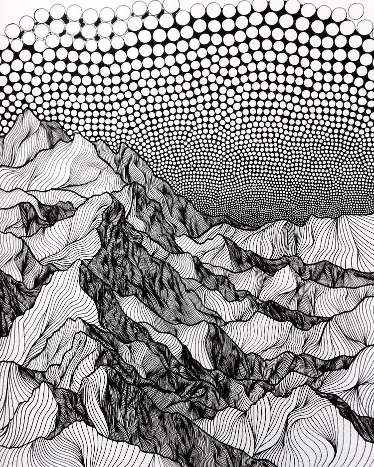 Pointillist Line Drawings of Mountains by Christa Rijneveld