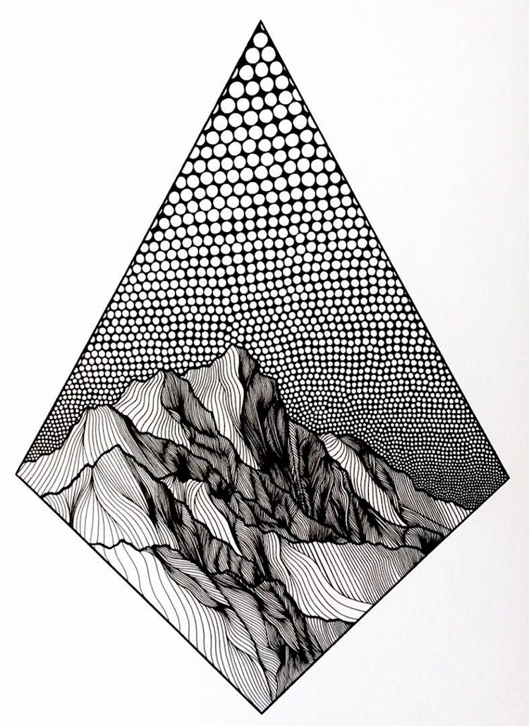 Line Art Mountains : Christa rijneveld creates pen and ink line drawings of