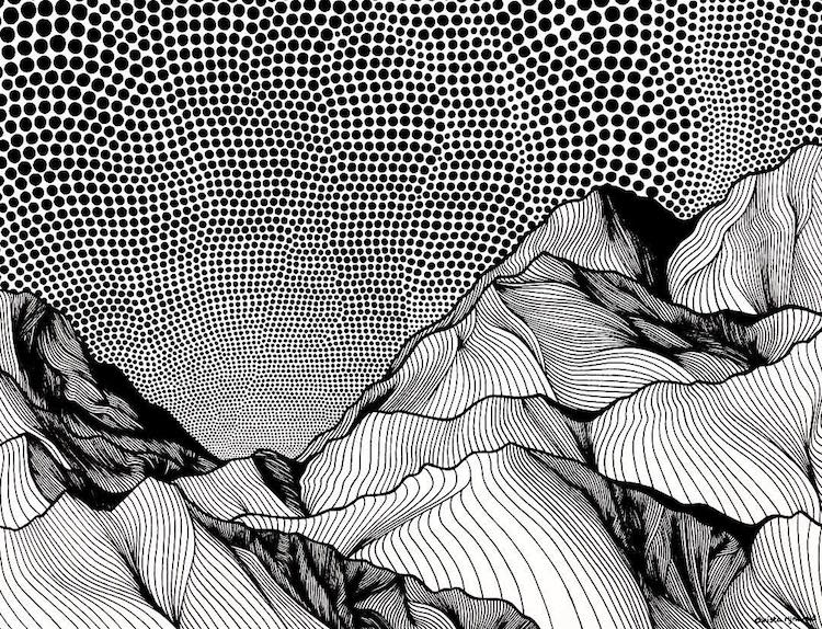 Line Art Work : Christa rijneveld creates pen and ink line drawings of