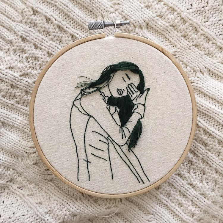 Hair embroidery art by sheena liam conveys her creative