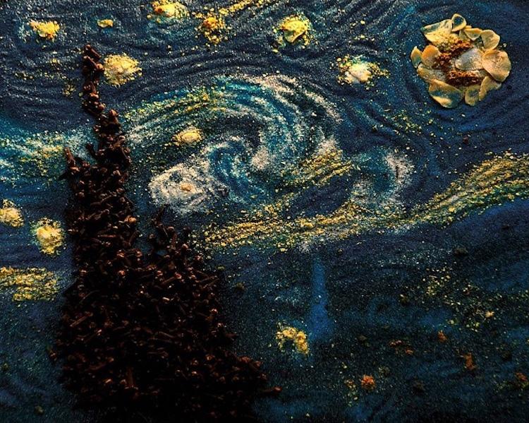 Van Gogh la noche estrellada con comida