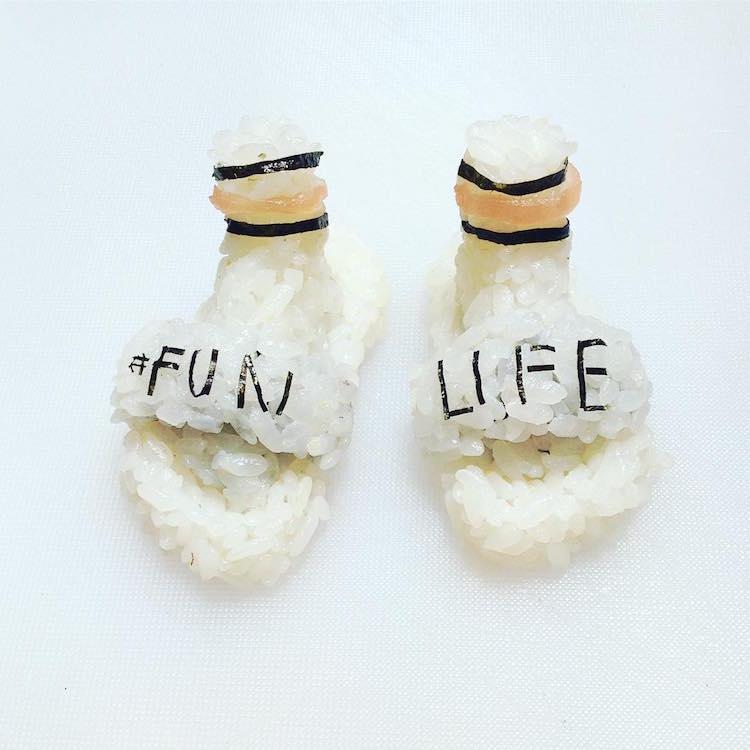 Sushi Shoes Shoes Made Out Of Sushi Yujia Hu Sushi Sneakers Onigiri Art