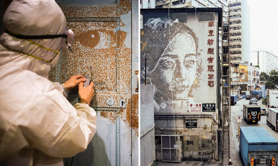 Interview one artist is carving walls around the world to turn them into portraits of locals