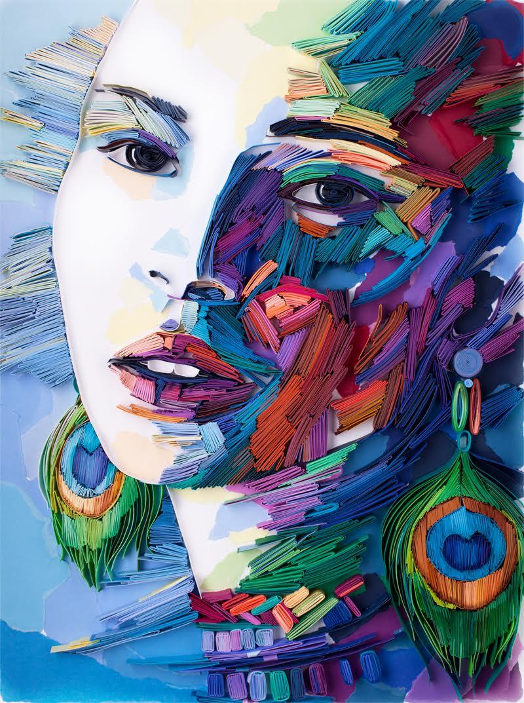 Paper Quilling Art Girl with Peacock Earrings by Yulia Brodskaya