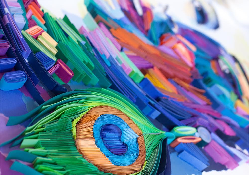 Paper Quilling Art by Yulia Brodskaya Girl with Peacock Earrings