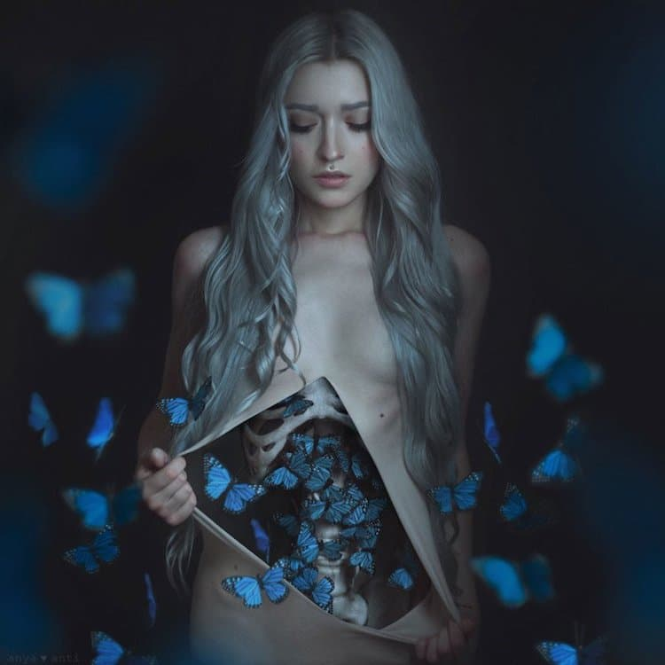 Anya Anti - Behind the Scenes Conceptual Photograph - Butterflies in the Stomach