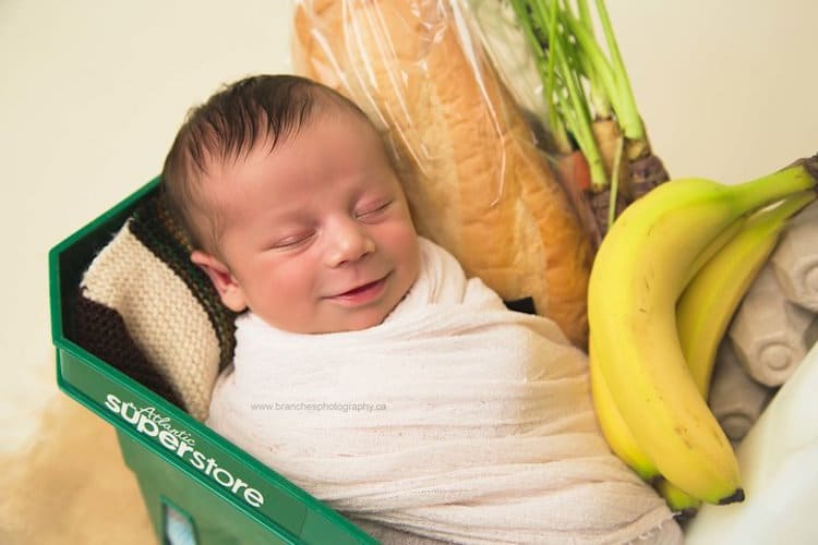 Newborn Baby Photos of Baby Born in a Grocery Store