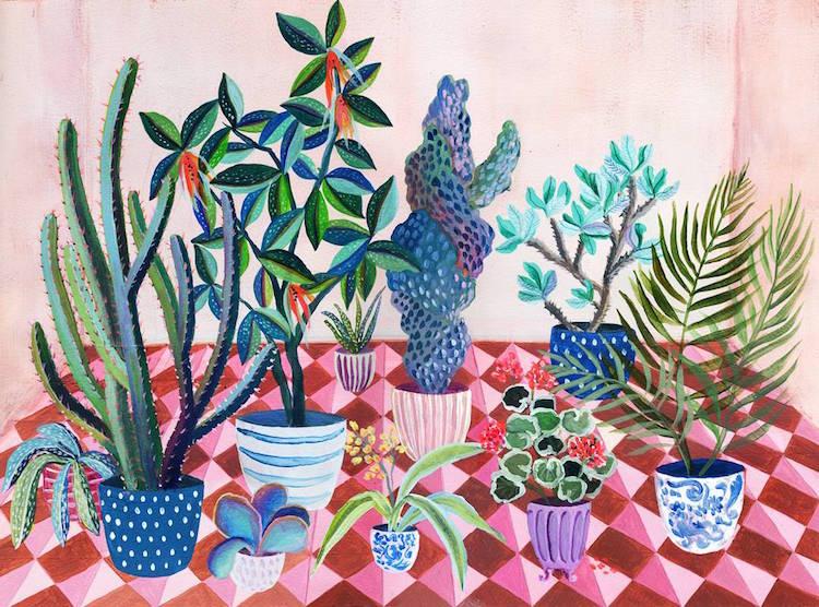 Botanical Illustrations House Plants Paintings Laura Garcia Serventi