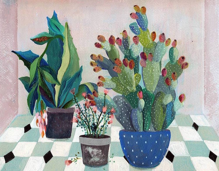 Botanical Illustration Houseplants Paintings Laura Garcia Serventi