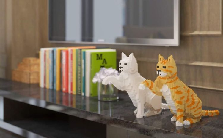 LEGO Art Reimagines Furry Felines as Pixelated Sculptures