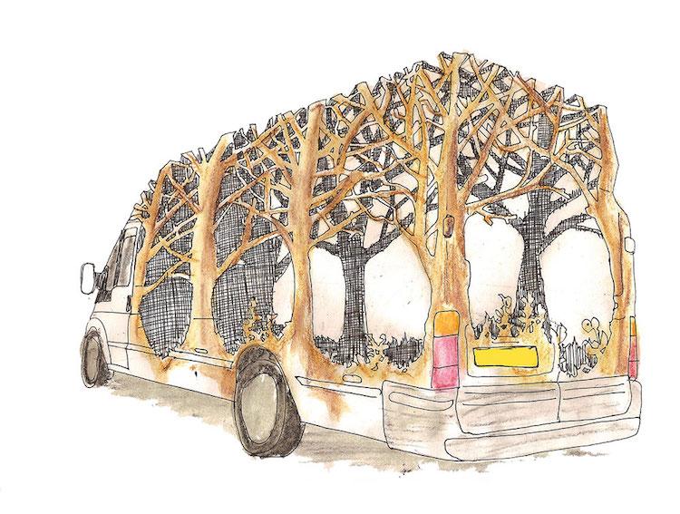 dan rawlings art installation transit van