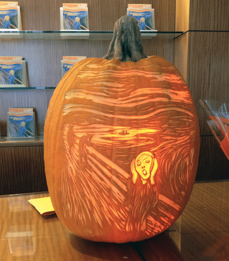 The scream painting gets modernized by contemporary artists for Scream pumpkin template
