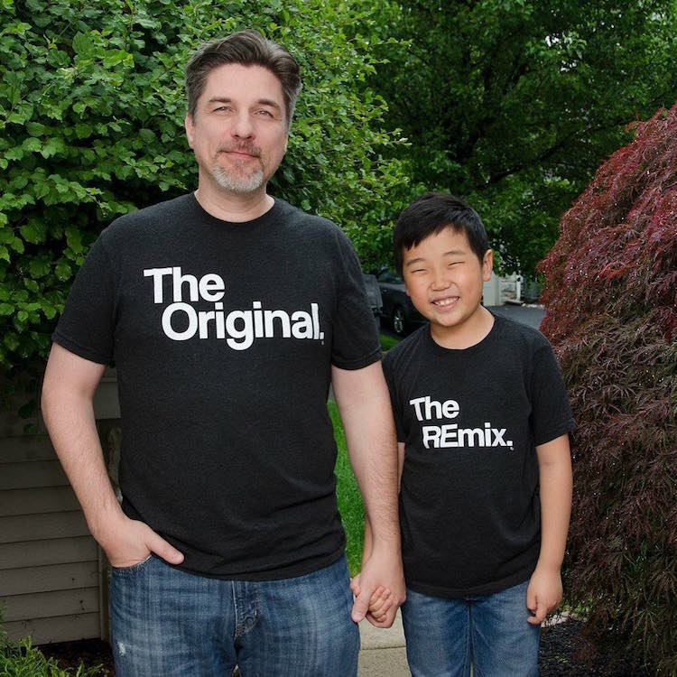 "e46a28a2 In a viral photo, a dad and son are shown wearing clever t-shirts that  describe themselves as ""The Original"" and ""The Remix."" These shirts are  popular ..."