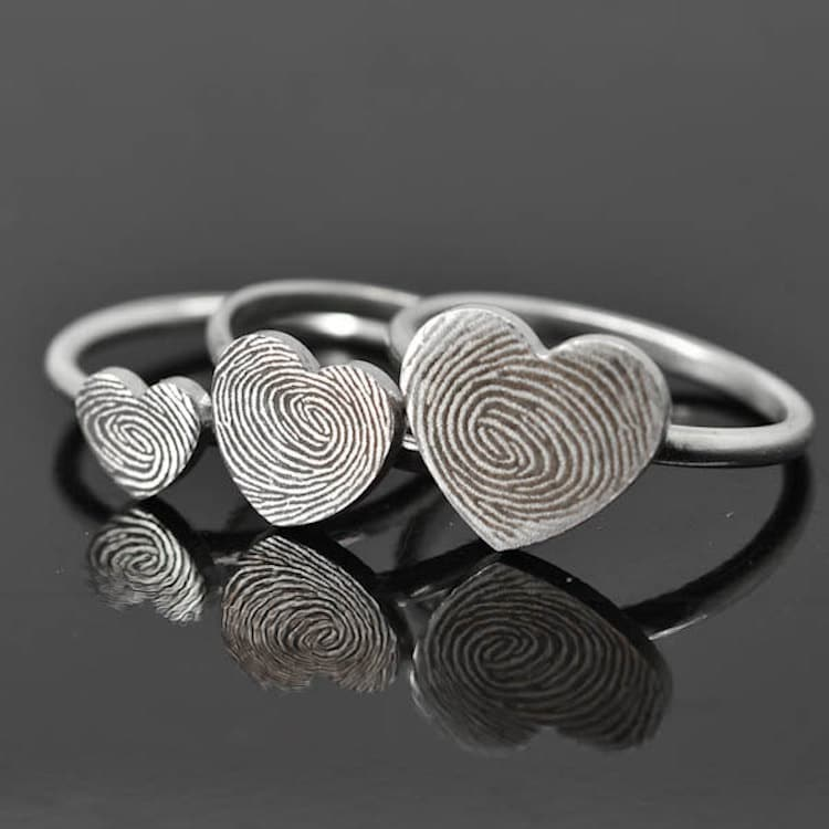 Fingerprint Ring Fingerprint Wedding Band Customized Jewelry