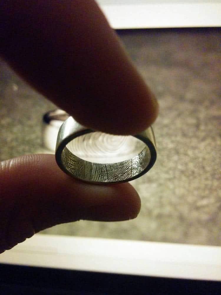 Fingerprint Ring Fingerprint Wedding Band Customized Jewelry