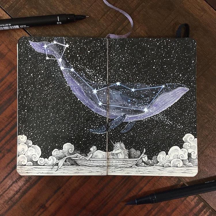 Space art combines animal illustrations with cosmic patterns for Kerby rosanes