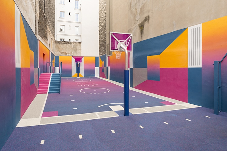 painted basketball court pigalle nike