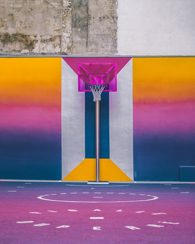 colorful basketball court paris ill studio