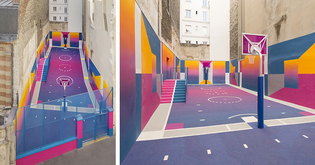 Colorful Basketball Court Pops Up In Paris Thanks To Pigalle