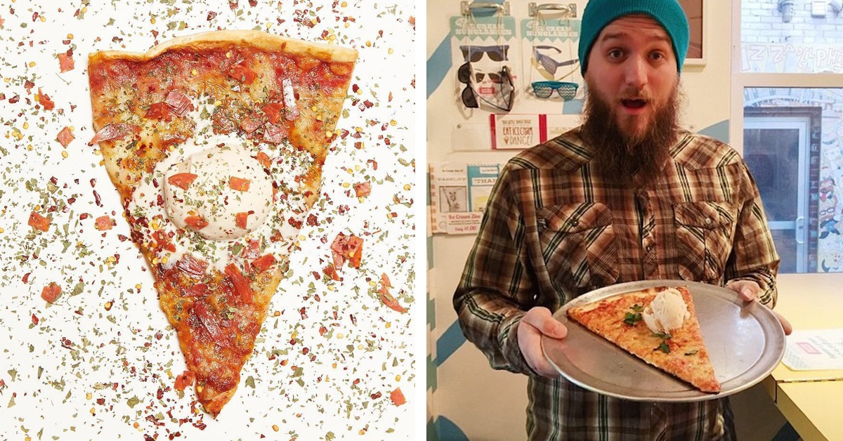 Quirky Food Trend Serves Pizza Flavored Ice Cream on Top of a Hot Slice