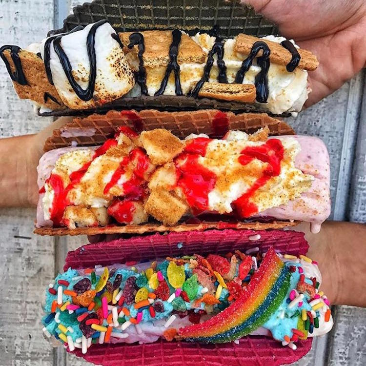 Rainbow Ice Cream Taco Rolled Ice Cream Sweet Cup
