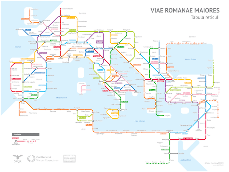 Ancient Rome Subway Map.Roads In Ancient Rome Transformed Into Subway Map