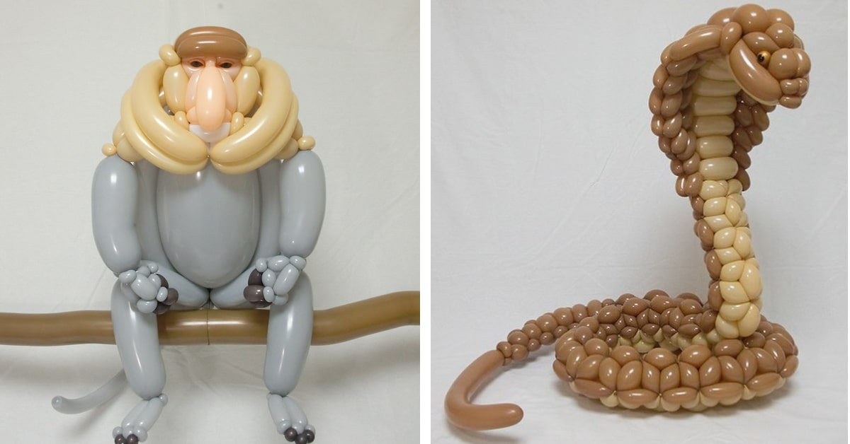 balloon animals look like large scale sculptures of creatures