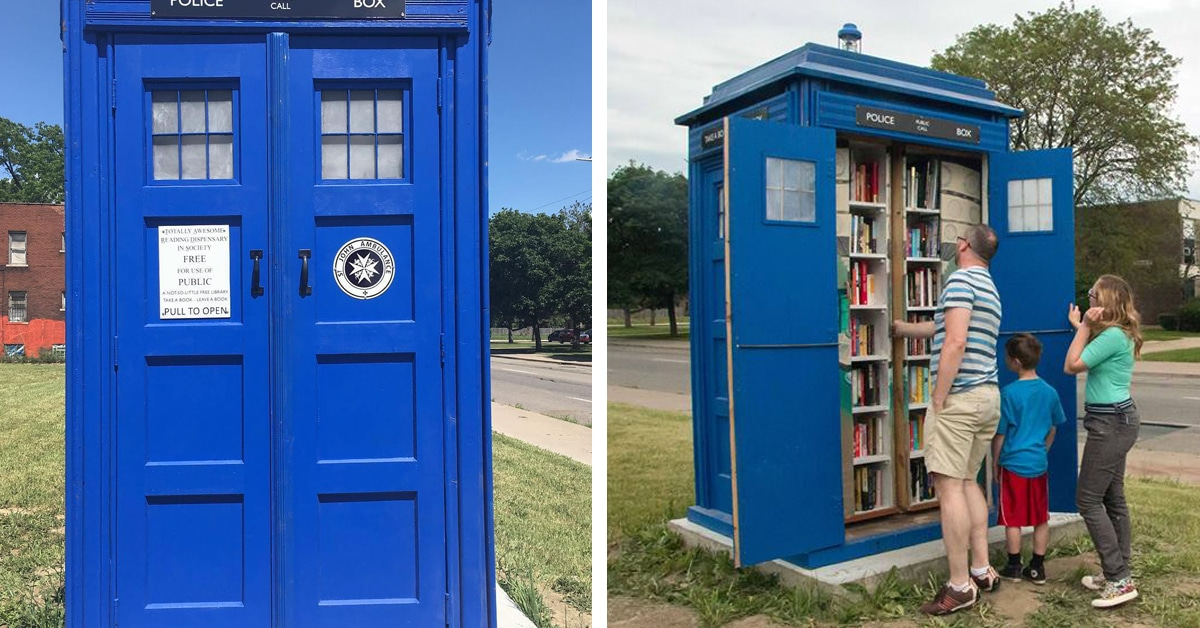 super fan builds doctor who tardis library in his detroit neighborhood