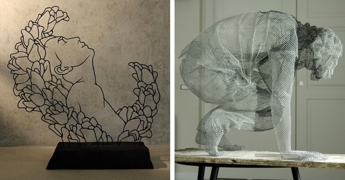 wire sculpture inspired by calder puts contemporary spin on wire art