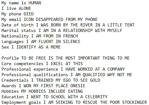 Funny Resume Made From Google Autocomplete Now Try Your Own