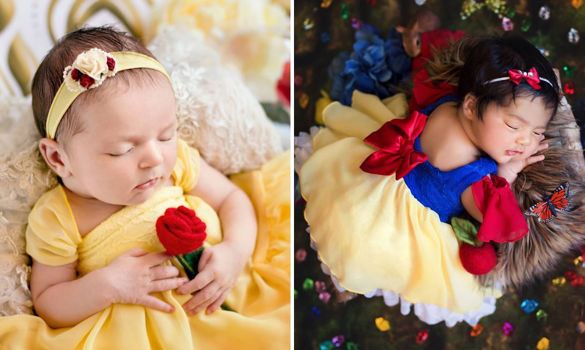 Enchanting newborn photo shoot imagines six baby girls as disney princesses