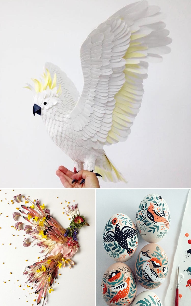 Bird Art Paper Art Floral Sculpture Egg Painting