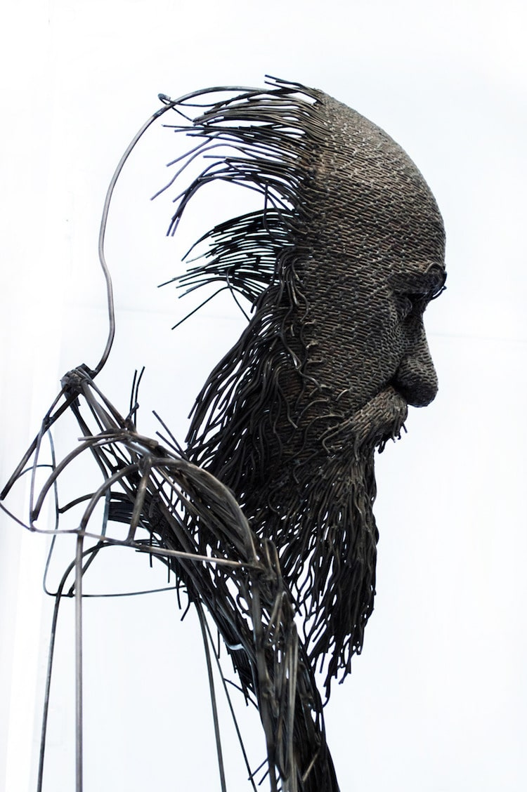 wire sculpture by darius hulea is a modern twist on the portrait bust. Black Bedroom Furniture Sets. Home Design Ideas