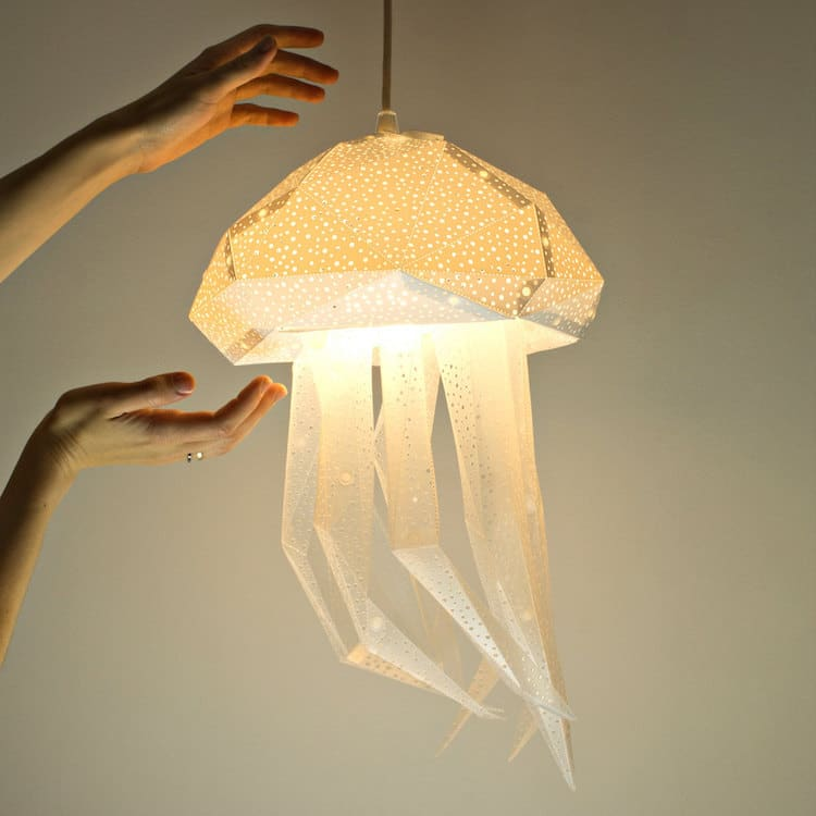 Diy lamp shapes put an underwater spin on paper lamp coverings - Diy lamp shade ...