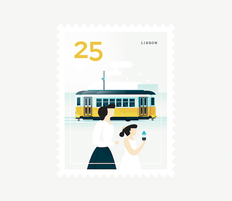 Postage Stamp Posters City Stamps Graphic Design Elen Winata