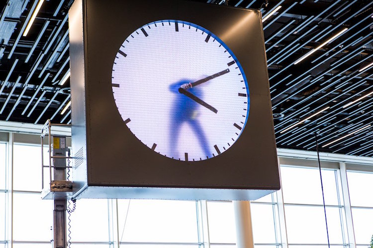Real Time Clock Performance Art Schiphol Clock by Maarten Baas