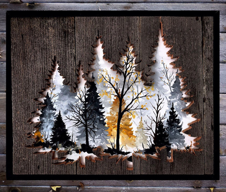 Reclaimed Wood Frames Adorn Painted Scenes Inspired By Nature