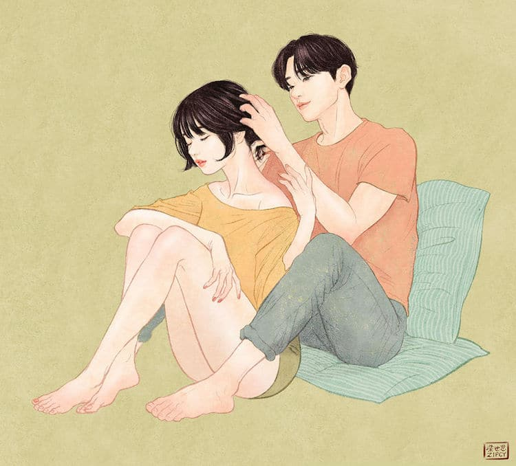Zipcy Relationship Drawings Couple Illustration Love Art