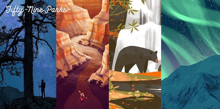 Retro National Park Posters National Parks Fifty-Nine Parks