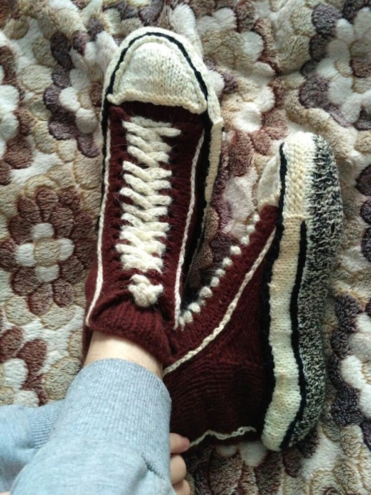 Knitted Sneakers Pattern Reimagines Converse Shoes Into Cozy Slippers