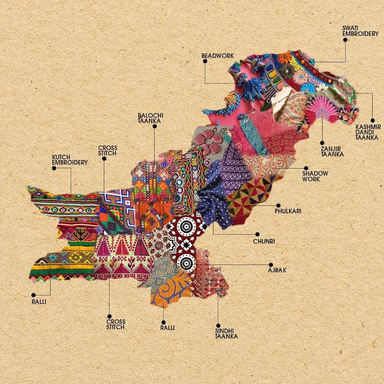 Textile Map Of Pakistan And India Embroidery Show