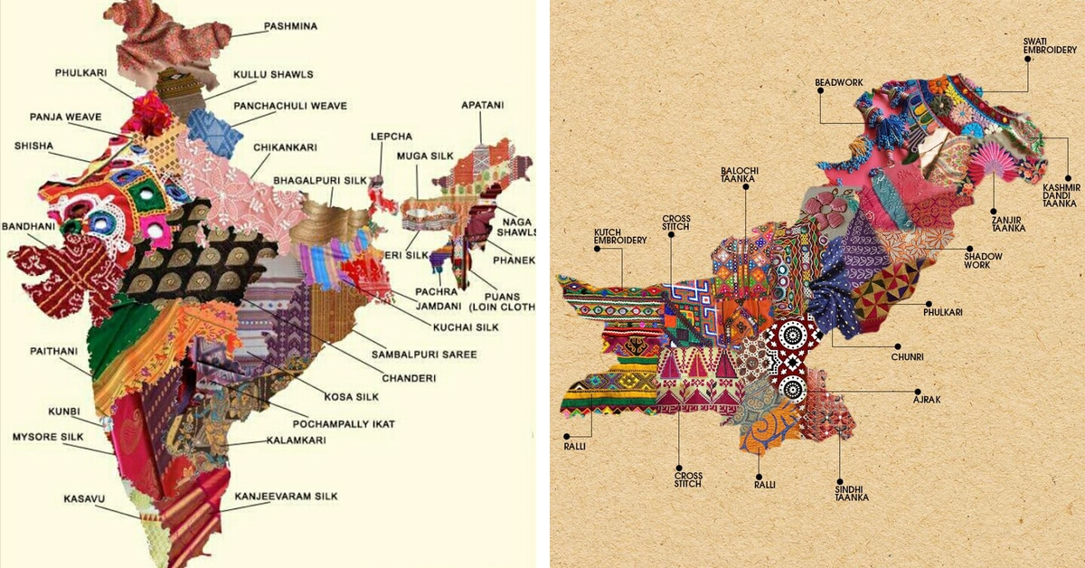 Textile Map Of Pakistan And India Embroidery Show Traditional Cultures - Map pakistan